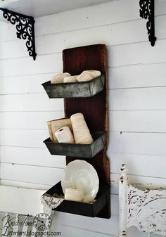 Metal Wall Bins - Repurposed Antique Barn Wood with Antique Bread Pans by KnickofTime