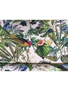 Bomuldsjersey - med fugle og fauna