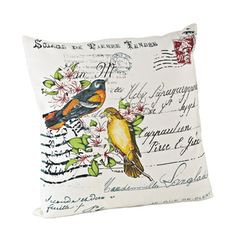 @Overstock - Bird Design 18-inch Down Fill Throw Pillow - This printed bird design pillow would make for a great gift to any friend or family member who loves animals. With its unique bird and postcard design, this pillow could bring a spark of flair to any room.  http://www.overstock.com/Home-Garden/Bird-Design-18-inch-Down-Fill-Throw-Pillow/8540316/product.html?CID=214117 $38.99