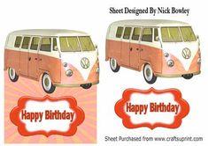 orange split screen campervan over the edge card on Craftsuprint - Add To Basket!