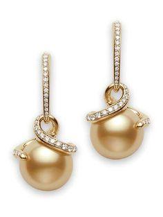 Twist Golden South Sea Earrings.10500<3