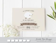 Lamb Baby Shower Invitation: Gender Neutral Baby Shower Invite, Little Lamb  Baby Shower Invite; Printed Or Printable, Tan, Brown, Sheep Lamb
