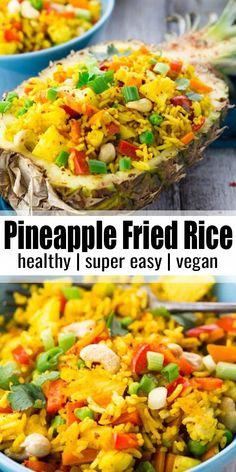 Thai pineapple fried rice is one of my favorite vegan dinner recipes or one. - Food -This Thai pineapple fried rice is one of my favorite vegan dinner recipes or one. Rice Recipes Vegan, Vegan Dinner Recipes, Vegan Dinners, Indian Food Recipes, Appetizer Recipes, Beef Recipes, Healthy Recipes, Pineapple Dinner Recipes, Fried Rice Recipes