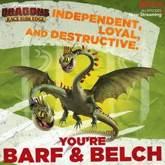 Do these traits sound like you? Then your Dragon DNA is most like Barf and Belch! Barf and Belch may not always think alike, but they both know they are always stronger with their perfect pair by their side! Tag who your perfect pair is! #DreamWorksDragons