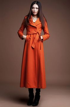 Double Breasted Long Wool Coat in Orange – Lily & Co.