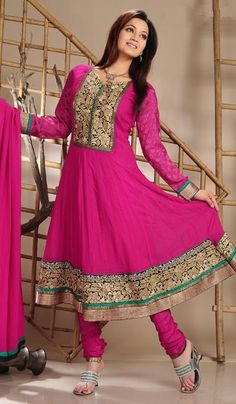 G3 Fashions Magenta Georgette Viscose Party Wear Salwar Suit  Product Code : G3-LSA104403 Price : INR RS 7430