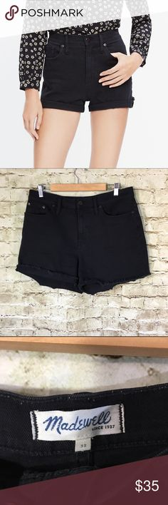 "Madewell High Rise Denim Shorts Washed Black Name Brand: Madewell Condition: Pre Own, Excellent Condition worn once, No flaws to note  Size: 32 (see measurements)  Color: Washed Black  Style: High Waisted  Material: 99% Cotton 1% Elastane   Always check the measurements, label sizes are not consistent.   Measurements are approx and are of item laying flat and unstreched: Waist: 18"" Rise: 13.5"" Inseam: 3.5"" Length:15 "" Madewell Shorts Jean Shorts"