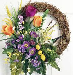 Spring Front Door Wreaths, Christmas Door Wreaths, Spring Door Wreaths, Easter Wreaths, Summer Wreath, Tulip Wreath, Purple Wreath, Flower Wreaths, Year Round Wreath