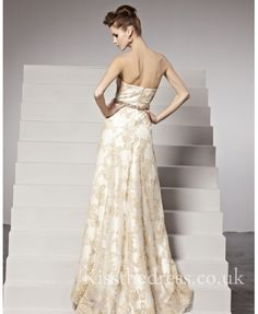 kiss the dress champagne lace flower strapless