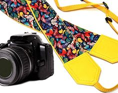 Butterly camera strap.Yellow DSLR / SLR Camera Strap. Colorful butterflies camera strap. Durable, light weight and well padded camera strap by InTePro. code 00059 >>> See this great product. (This is an Amazon Affiliate link and I receive a commission for the sales)