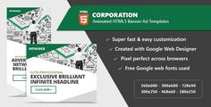 Corporation Banner Ad Templates - HTML5 Animated GWD by InfiniWeb Corporation Business Banner Ad Templates – HTML5 Animated GWD Created with Google Web DesignerItem Features:Super fast and easy customization Google Web Fonts used Created and fully editable with Google Web Designer Compatible wit Google Web Font, Web Banner, Banners, Web Design Tutorials, Ads Creative, Coding, Templates, Website, Advertising