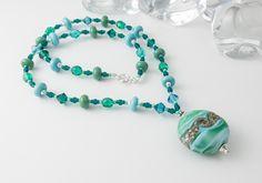 """Seafoam"" Lampwork Necklace by Ciel Creations"