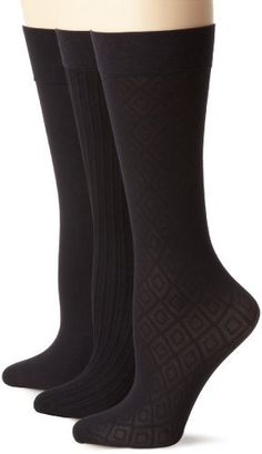 Nine West Women's Argyle Solid And Cable Trouser 3 Pair Sock, Black, Size 9-11 Nine West. $14.00. Made in the usa. Comfort top. Reinforced toe. Made in USA. Hand Wash. 90% Nylon/10% Spandex