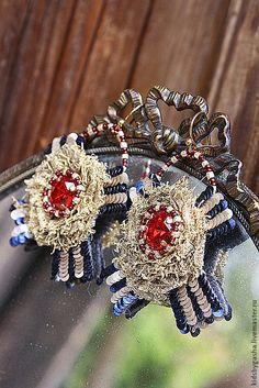Купить Серьги КA14006 - золотой, красный, темно-синий, серьги, орден, детское украшение