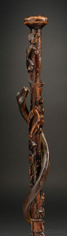 Relief Carved Wooden Folk Art Walking Stick