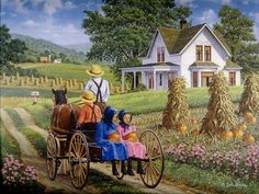 Country Life Folk Art, Amish Farm, Amish Country, Country Art, Country Life, Amish Family, Country Kitchen, Amish Books, Crystal Diamond
