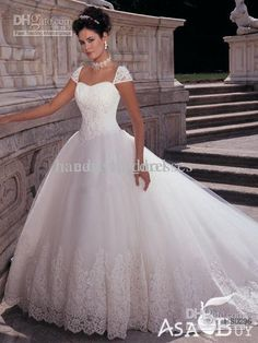 Wholesale 2013 Sexy A Line Wedding Dresses Applique Lace Puffy Vintage Cap Sleeves Chapel Bridal Gown, Free shipping, $198.0/Piece   DHgate Mobile