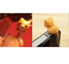 US seller: 6 Styles Cute Cats 3.5mm Earphone Jack Plug for iPhone 4 4S 5 or Samsung galaxy - Fancy, cute & a free pouch on Etsy, $0.20