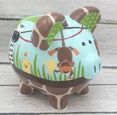 Personalized Piggy bank Peek a boo Jungle artisan hand