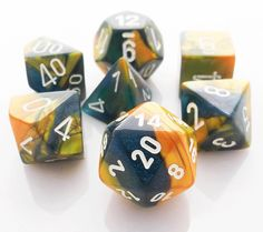 Gemini Dice (Masquerade Yellow and Blue) RPG Role Playing Game Dice Set