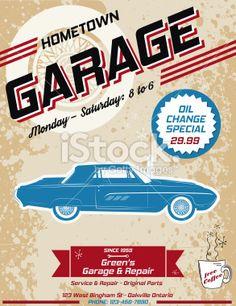 Retro Garage Automotive Poster or Sign Royalty Free Stock Vector Art Illustration