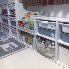 Interior example of shelving / kids space / toy storage / color box / toy box | RoomClip