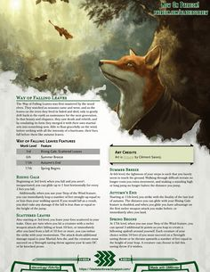 Monastic Tradition: Way of Falling Leaves Dungeons And Dragons Races, Dungeons And Dragons Classes, Dnd Dragons, Dungeons And Dragons Homebrew, Dnd Races, Dnd Classes, Dnd 5e Homebrew, Wood Elf, Dnd Monsters