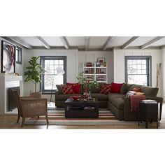 Lounge II 3-Piece Sectional Sofa in Taft:Truffle | Crate and Barrel