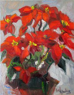 "Poinsettia Two by Carol Steinberg | $250 | 14""w x 18""h | Original Art | http://www.vangoart.co/buy/art/poinsettia-two @VangoArt"
