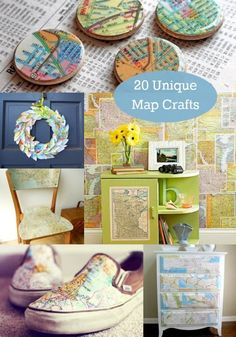 20 Unique Ideas For Map Crafts - use old maps you have laying around or buy them at thrift stores!