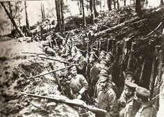 Russian trenches in the forests of Sarikamish. (Winter 1914/15 Caucasus front).