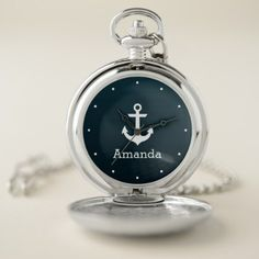 Nautical White Anchor Blue Ombre Personalized Name Pocket Watch - trendy gifts cool gift ideas customize