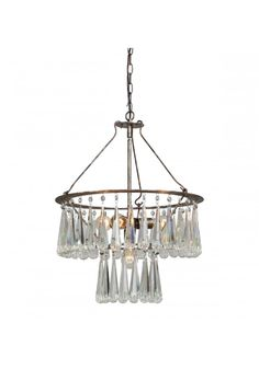 Designer Two Tier Tear Drop Real Crystal Prisms Chandelier Light Fixture Elegant Sophisticated