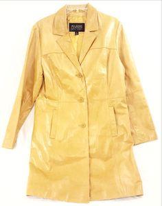 Mustard Yellow Genuine Leather 3/4-Length Coat