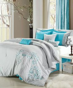 Chic Home Pink Floral Grey Comforter Bed In A Bag Set - Bed & Bath - Decorative Bedding - Comforters & Sets Grey Comforter Sets, Blue Bedding, Bedding Sets, Floral Comforter, Turquoise Comforter, King Comforter, Turquoise Bedrooms, Blue Pillows, Turquoise Room