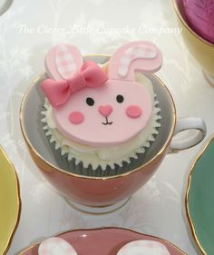 Rabbit Cupcake. There is no tutorial or recipe for this but would not be difficult to replicate. Just make a cupcake of your choice, ice with white buttercream (or any flavor you like), make templates for the parts of the bunny and cut out of fondant or modeling chocolate (tinted pink) and use edible markers for mouth and eyes. See? Simple. Never be afraid of trying something new.