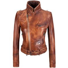 APMG! Love the brown leather. Leather Band Collar Biker Jacket❤️
