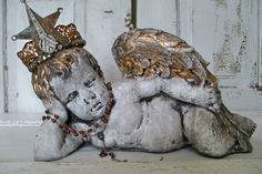 Cherub cement statue hand made crown adorned by AnitaSperoDesign, $230.00