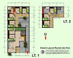 Layout Denah Rumah dan Tempat Usahan Kos-Kosan Home Design Plans, Plan Design, Guest House Plans, Bussines Ideas, Boarding House, Apartment Floor Plans, Dormitory, Architecture Plan, Hostel