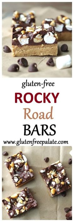 Rich, fudge-like, Gluten-Free Rocky Road Bars that are bursting with peanut…