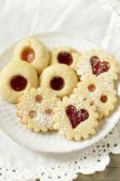 Traditional Austrian Linzer Cookies & Jam Thumbprints, The Effective Pictures We Offer You About german recipes dessert A quality picture can tell you many Austrian Desserts, Austrian Recipes, Austrian Food, Baby Biscuit Recipe, Easy German Recipes, Buttery Shortbread Cookies, Easy Linzer Cookies Recipe, Cookie Recipes, Dessert Recipes