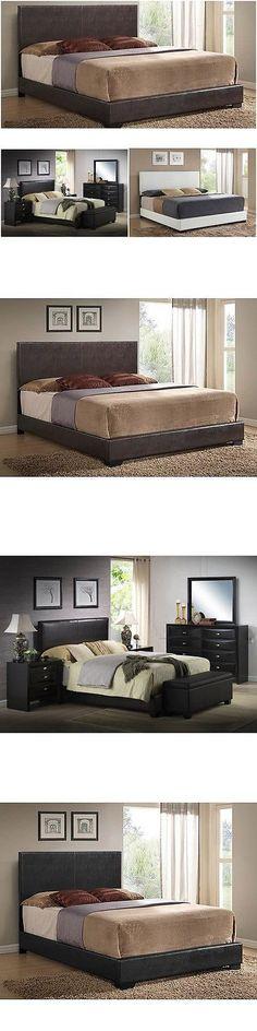 beds and bed frames 175758 upholstered bed frame w headboard footboard leather platform full queen - Ebay Bed Frames