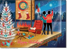 Modernist House Christmas Cards sets a scene of a couple enjoying the magic of the season from their swanky modern living room. The fireplace and the aluminum tree glisten and glow, as the stars shimmer above. 8 cards & envelopes $12.00 | Folded Card Size 4.5″x 6.25″
