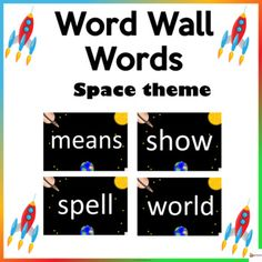 Word Wall Words Space ThemeThese word wall word cards space theme in this 200-page packet will add a fun and bright focus in your classroom. The download contains the first 200 words from Fry's high-frequency list.Check out our other Word Wall Words. Click below.Word Walls...