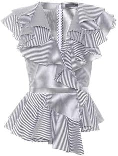 Shop Ruffled poplin top presented at one of the world's leading online stores for luxury fashion. Diy Fashion, Fashion Dresses, Fashion Tips, Fashion Design, Luxury Fashion, Mode Bcbg, Frill Tops, Flutter Sleeve Top, Cotton Blouses