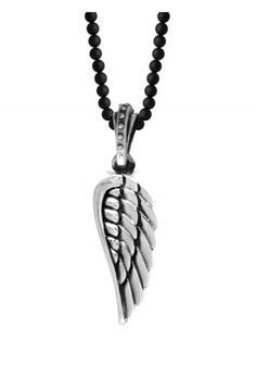 "King Baby | Silver Wing on 24"" 3mm Onyx Bead Necklace"