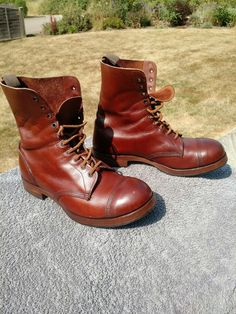 a pair of brown William Lennon Boots - probably a custom order - worn in but not worn out - 2019 Vintage Boots, Vintage Leather, Vintage Men, Leather Fashion, Mens Fashion, Shoe Boots, Men's Boots, Rugged Style, Cycling Shoes