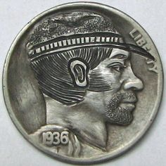 RUTH BORM HOBO NICKEL - CIVIL WAR SOLDIER - 1936 BUFFALO PROFILE Low Cost Internet, Hobo Nickel, American Civil War, Sculpture Art, Folk Art, Coins, Carving, Buffalo, Profile