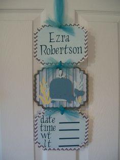 Boy Hospital Door Banner Baby Whale Door Banner by KatlinLee123, $19.00