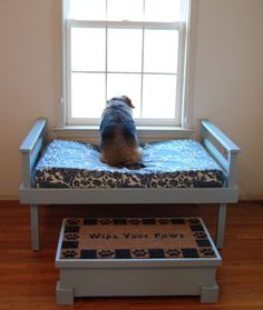 a dog has to have a window seat too! and a bench to get up on the window seat if they are short and fat